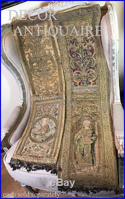 16th Century Religious Embroidered Orphrey Metallic Silk Needlework Saint Angel