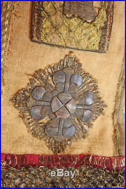 16th Century Religious Embroidered Orphrey Panel Metallic Silk Needlework Saint