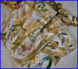 17th Century Italian Embroidered Silk Panel Flowers Parrot Antique Textiles