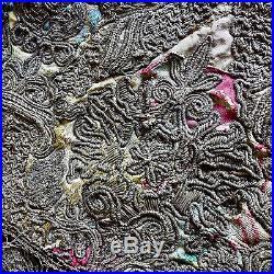 18th Century Italian Gold Silver Metallic Embroidery on Silk