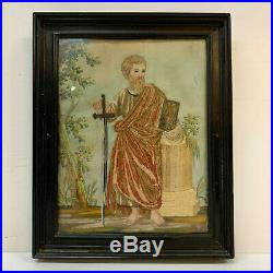 18th Century Needlework Embroidery Picture Circa 1740 Framed Picture Gentleman