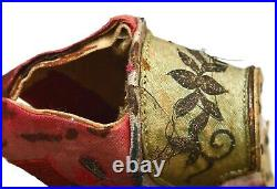 1900's Chinese Silk Embroidery Bound Feet Red Lotus Shoes AS IS