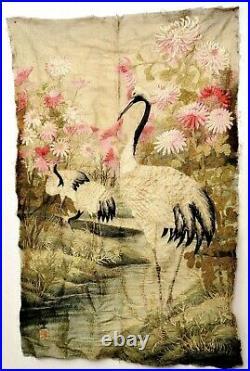 1900's Japanese Silk Embroidery Wall Hanging Tapestry Panel Crane Bird Mk 112CM