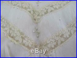 19C. ANTIQUE VICTORIAN STYLE LADIES SILK LONG DRESS withEMBROIDERY