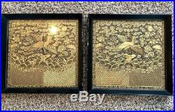 19C Pair Chinese Silk Embroidery Civil Rank Badge Panel Textile Gold Threads