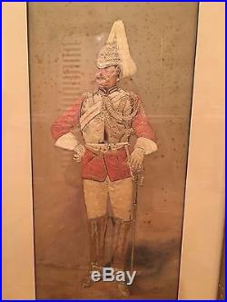 19th C Georgian Silk Embroidery in Gilt Wood Frame SOLDIERS PAIR