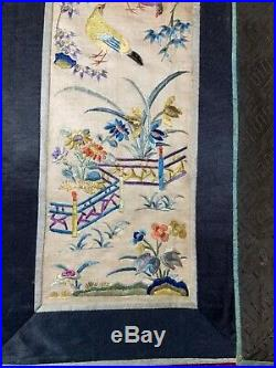 2 ANTIQUE 19th c QI'ING CHINESE EMBROIDERED SILK SLEEVE BANDS ROBE EMBROIDERY #3