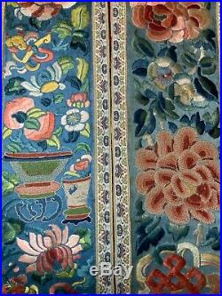 3 ANTIQUE 19th c QI'ING CHINESE EMBROIDERED SILK SLEEVE BANDS ROBE EMBROIDERY #2