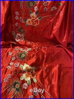 5-Claw Dragon Coral SUN Antique Chinese Silk Embroidered Panel HUGE Embroidery