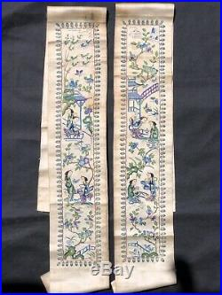 A Pair of Antique Chinese Silk Embroidery from the 1800s, Qing Dynasty
