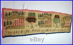 A Rare 19th C Greek Island Ottoman Gold Thread Silk Embroidery Panel Textile