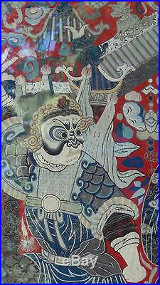 ANTIQUE 18c-19c CHINESE LARGE GOLD&SILVER EMBROIDERY WALL HANGING OF OPERA SCENE