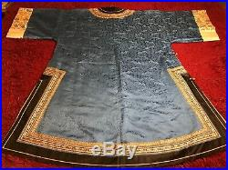 ANTIQUE CHINESE 19/ 20th c QI'ING DAMASK SILK EMBROIDERED ROBE JACKET EMBROIDERY