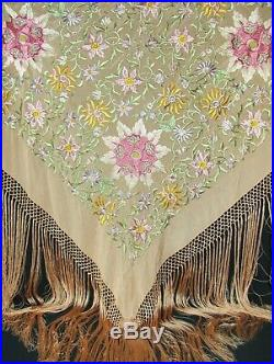 ANTIQUE PIANO SHAWL Pink Silk Floral Embroidered Art Nouveau 50x 50 Fringe 22