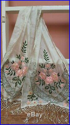 ANTIQUE RIBBONWORK FRENCH SILK SHAWL 1920s STOLE SCARF HAND EMBROIDERY ROSES