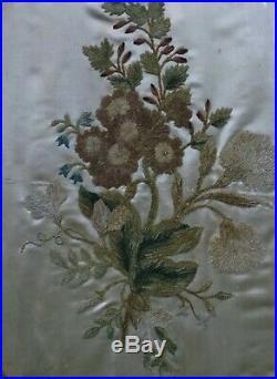 ANTIQUE SILKWORK CHENILE FLOWER EMBROIDERY on SATIN in OVAL GILT FRAME