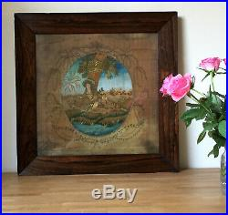 Antique 1800's Silk Work Embroidery Lady rosewood framed Georgian Picture Art