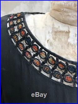 Antique 1920s Silk Dress Art Deco Geometric Colorful Print Embroidery Vintage