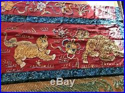 Antique 19th Century Royal Chinese Silk Textile Embroidery Panel W Foo Dogs TLC