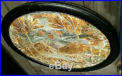 Antique Art Nouveau Silk Work Needlepoint Embroidered Picture 21.75 by 18