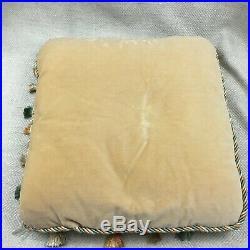 Antique Aubusson Cushion Pillow 19th Century French Original Passementerie Trim