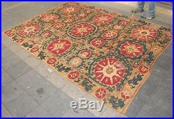 Antique Beautiful Bukhara Uzbekistan Suzani Silk Embroidery Handmade Rug Carpet