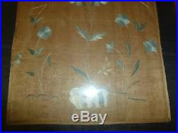 Antique China CHINESE EMBROIDERED SILK PANEL Embroidery 8x15