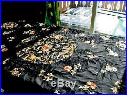 Antique Chinese Black Silk Embroidered Embroidery Bedcover Panel 48 by 84 inches