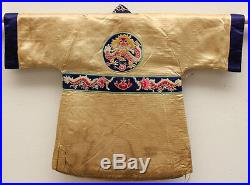 Antique Chinese China Child Robe Cloth Dragon Jacket Qing Silk Embroidery 19th C