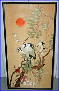 Antique Chinese Hand Embroidered Silk Birds Embroidery Panel Japanese Textile