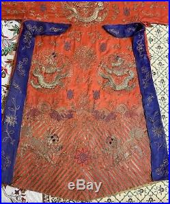 Antique Chinese Hand Embroidery Qing Dynasty Silk Dragon+Foo Loin Robe