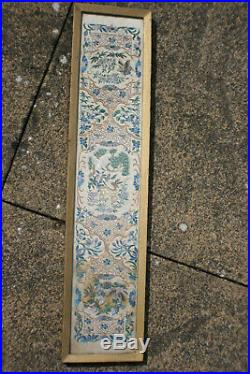 Antique Chinese Hand Silk Embroidery Picture Wooden Framed & Glazed