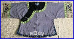 Antique Chinese Lavender Silk Robe Ao Jacket Jacquard Trim Embroidery 19thC Qing