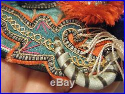 Antique Chinese Qing 3d Dragon Boy Cloud Collar Silk Embroidery Silver Foil