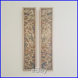 Antique Chinese Qing Dynasty Forbidden Stitch Embroidery Silk Sleeve Panels