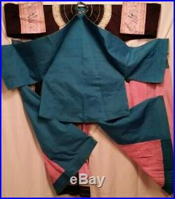 Antique Chinese Qing Silk Robe Figural Embroidery Bird Forbidden Knot Skirt Set