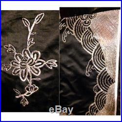 Antique Chinese Silk Embroidery Gold Robe Embroidered Late Qing Black Coat Metal