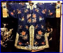 Antique Chinese Silk Embroidery Robe Embroidered Forbidden Peking Knot Qing Coat