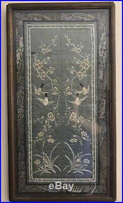 Antique Chinese Silk Forbidden Stitch Embroidery Birds Flowers Blue/Grey Framed