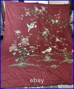 Antique Chinese Silk Qing Dynasty Hand Embroidery Panel Wall Hanging 210X 260 Cm