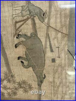 Antique Chinese embroidery Silk Kesi Panels Wood Screen