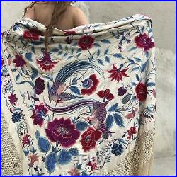 Antique Colorful Silk Birds Embroidered Canton Piano Shawl Huge 89 Vintage