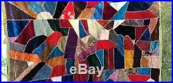 Antique Crazy Quilt Patchwork Blanket Silk Satin Velvet Embroidery 84 x 66
