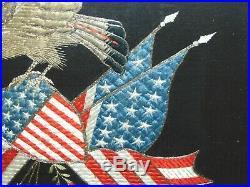 Antique E Pluribus Unum Embroidered Embroidery Trapunto Silk Eagle Banner Japan