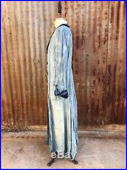 Antique Edwardian Blue Raw Silk Duster Trench Coat Soutache Embroidery Vintage