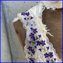 Antique Edwardian Pearly White Silk Pinafore Apron Purple Embroidery Florals Vtg
