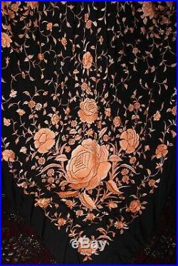 Antique Embroidered Peach Orange on Black Silk Huge Piano Shawl Manton Flamenco