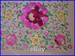 Antique Embroidered Silk Piano Shawl Exquisite Colorful Canton Manton de Manila