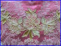 Antique French Pink Silk Damask Valance Pelmet Fabric Velvet Appliqué Embroidery