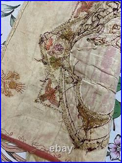 Antique French Silk Hand Embroidery Christian Vestment Chasuble Panel 52 X 54 Cm